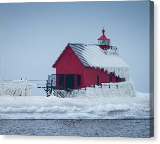 Grand Haven Lighthouse Encased In Ice Canvas Print