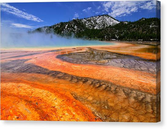 Grand Prismatic Spring Boardwalk View Canvas Print