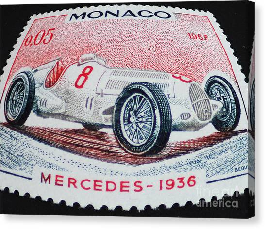 Grand Prix De Monaco 1936 Vintage Postage Stamp Print Canvas Print