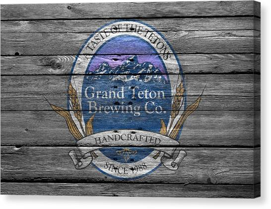 Teton Canvas Print - Grand Teton Brewing by Joe Hamilton