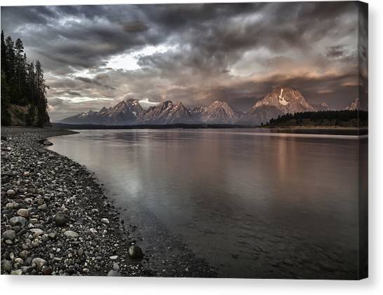 Grand Teton Mountain Range In  Grey And Pink Morning Sunlight Canvas Print