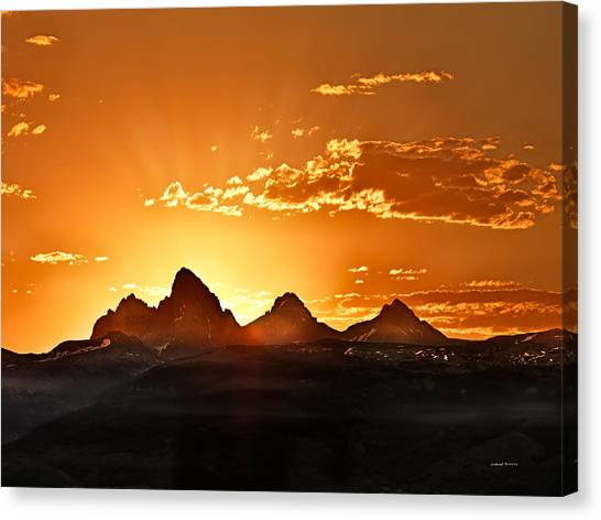 Teton National Forest Canvas Print - Grand Teton Sunrise by Leland D Howard