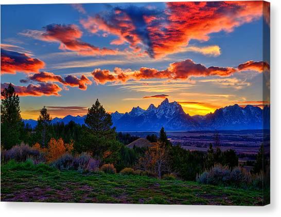 Tetons Canvas Print - Grand Teton Sunset by Greg Norrell