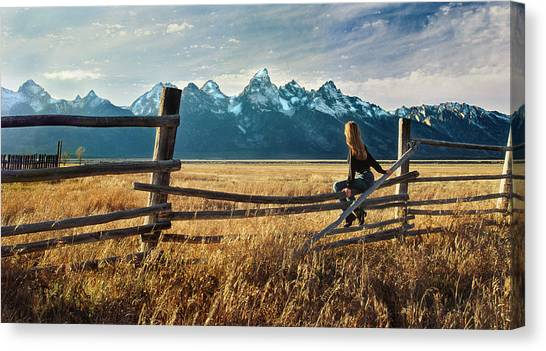 Grand Tetons And Girl On Fence Canvas Print