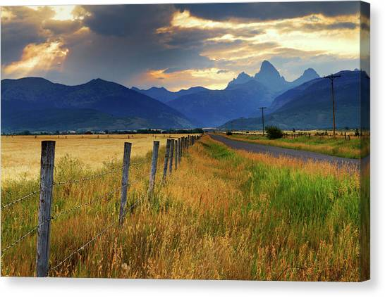 Grand Tetons At Sunrise From Driggs Canvas Print
