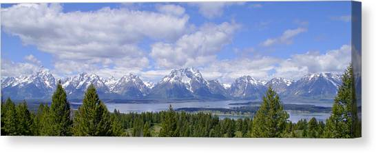 Teton Canvas Print - Grand Tetons Over Jackson Lake Panorama 2 by Brian Harig