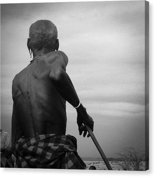 Grandpa Canvas Print - Grandfather And His Stick. #africa by Grant Swanepoel