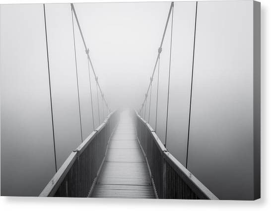 Blue Ridge Parkway Canvas Print - Grandfather Mountain Heavy Fog - Bridge To Nowhere by Dave Allen