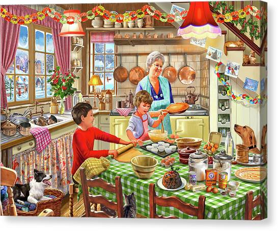 Grandma Canvas Print - Grandma Christmas Baking by Steve Crisp
