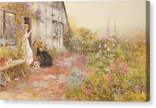 Victorian Garden Canvas Print - Grandmother by Thomas James Lloyd