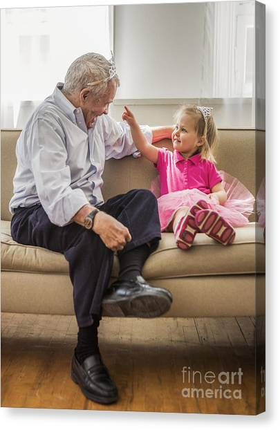 Grandpa Canvas Print - Grandpa's Little Princess by Diane Diederich