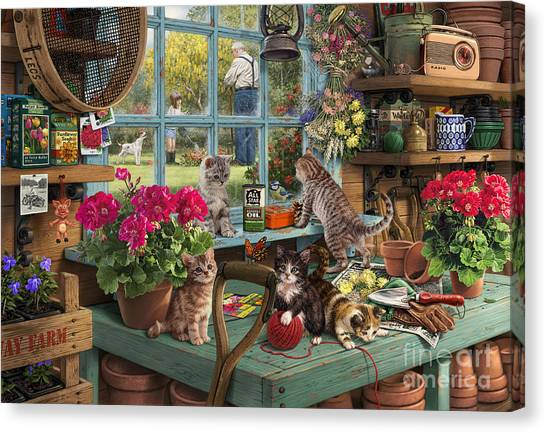 Grandpa Canvas Print - Grandpa's Potting Shed by Steve Read
