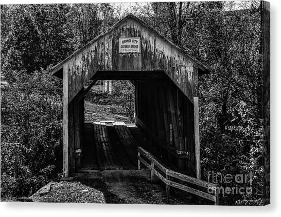 Grange City Covered Bridge - Bw Canvas Print