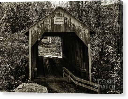 Grange City Covered Bridge - Sepia Canvas Print
