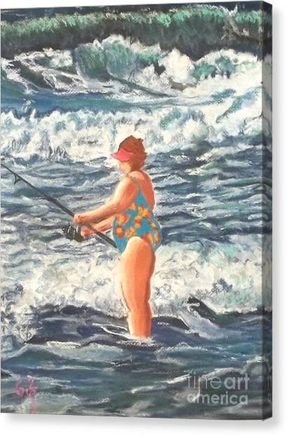 Granny Surf Fishing Canvas Print by Frank Giordano