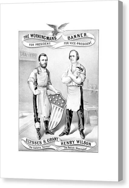 U. S. Presidents Canvas Print - Grant And Wilson 1872 Election Poster  by War Is Hell Store