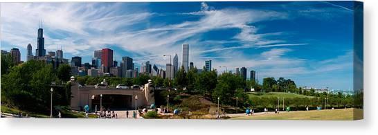 Chicago Skyline Art Canvas Print - Grant Park Chicago Skyline Panoramic by Adam Romanowicz