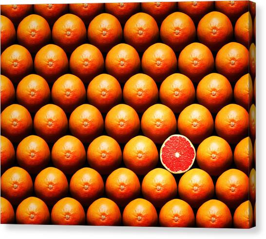 Fruits Canvas Print - Grapefruit Slice Between Group by Johan Swanepoel