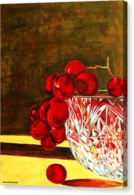 Grapes In A Crystal Bowl Canvas Print