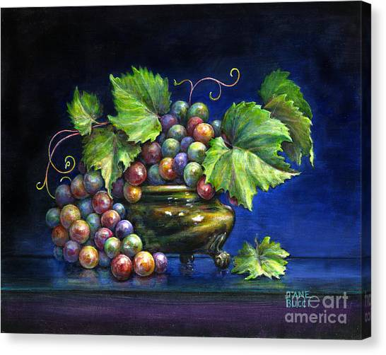 Grapes In A Footed Bowl Canvas Print