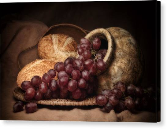 Brown Canvas Print - Grapes With Bread Still Life by Tom Mc Nemar