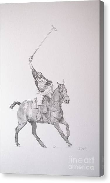 Graphite Drawing - Shooting For The Polo Goal Canvas Print