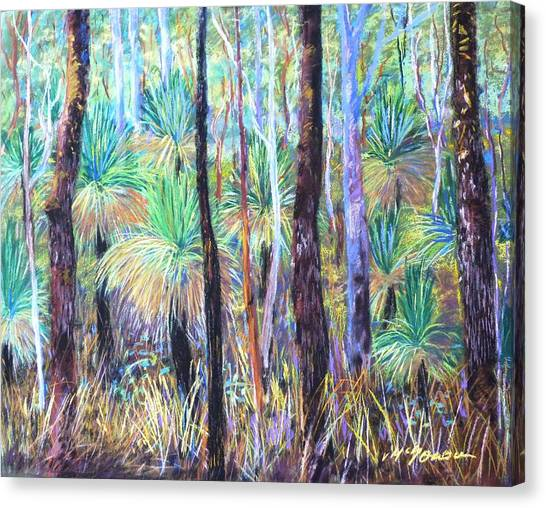 Canvas Print featuring the painting Grass Trees Cunningham's Gap by Virginia Mcgowan