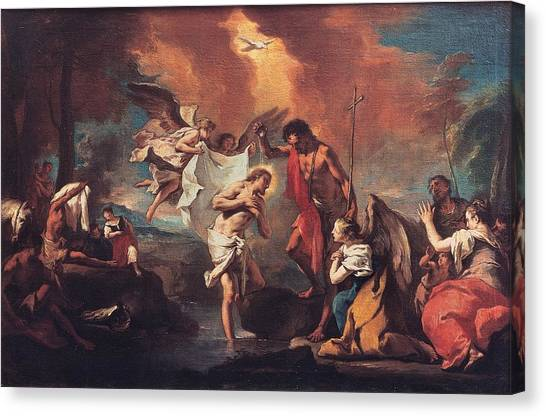 River Jordan Canvas Print - Grassi Nicola, Baptism Of Christ, 18th by Everett