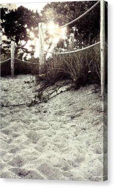 Grassy Beach Post Entrance At Sunset 2 Canvas Print