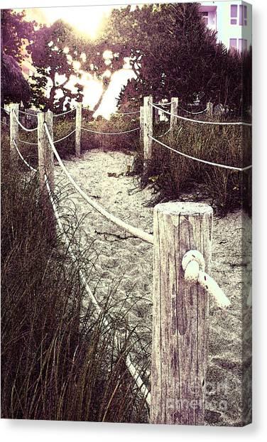 Grassy Beach Post Entrance At Sunset Canvas Print