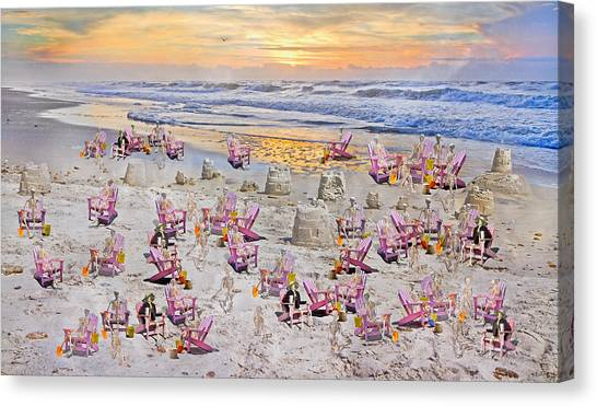 Sand Castles Canvas Print - Grateful Holiday by Betsy Knapp