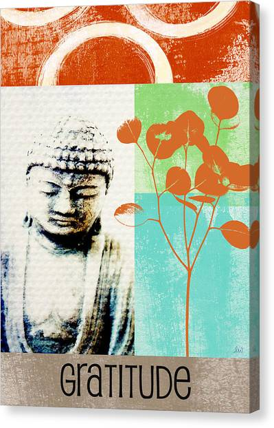 Yoga Canvas Print - Gratitude Card- Zen Buddha by Linda Woods