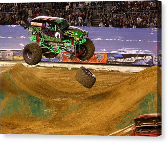 Grave Digger Loses A Wheel Canvas Print