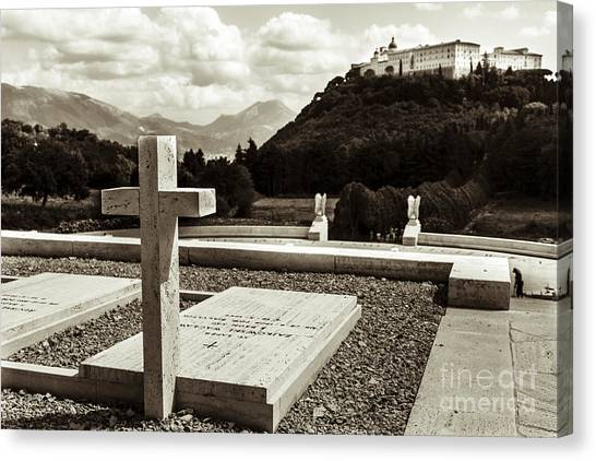 Gravestones In The Polish Cemetery Standing Proud Towards The Ab Canvas Print