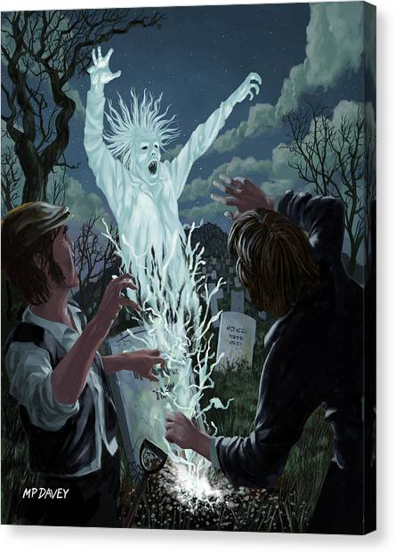 Graveyard Digger Ghost Rising From Grave Canvas Print