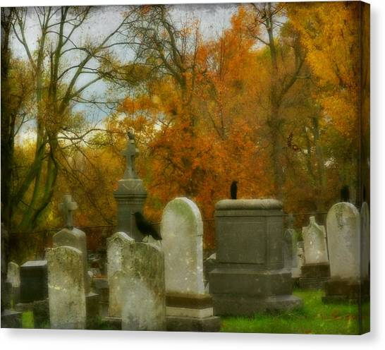 Ravens In Graveyard Canvas Print - Graveyard In Fall by Gothicrow Images