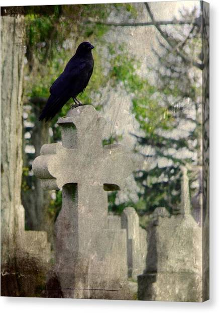 Ravens In Graveyard Canvas Print - Graveyard Occupant by Gothicrow Images
