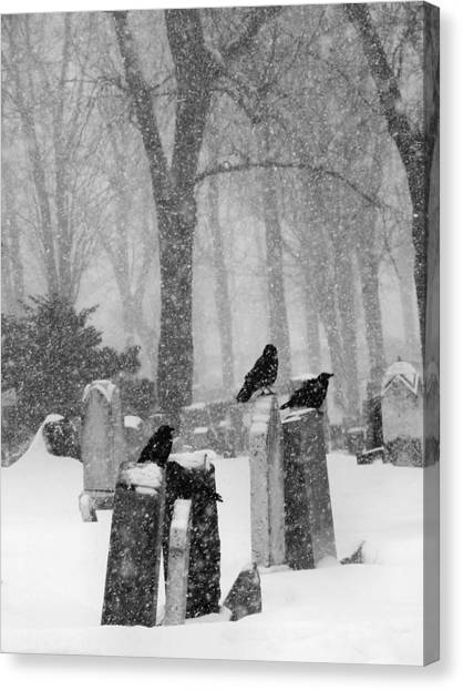 Ravens In Graveyard Canvas Print - Graveyard Snow With Four Ravens  by Gothicrow Images