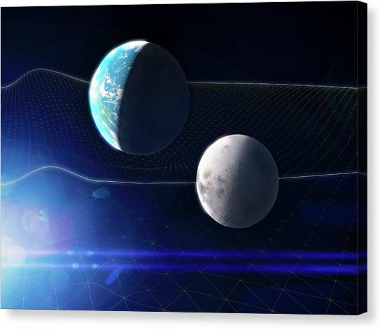 Gravitational Waves And Earth Canvas Print by Ramon Andrade 3dciencia