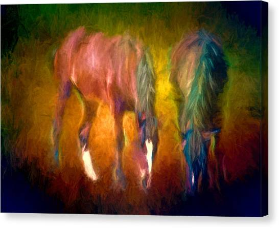 Grazing Horses Version 2 Textured Canvas Print