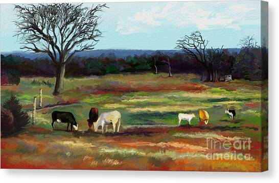 Grazing In The Pasture Canvas Print by Sandra Aguirre