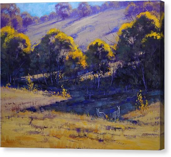 Kangaroo Canvas Print - Grazing Kangaroos by Graham Gercken