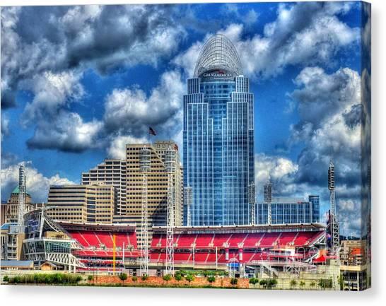 Cincinnati Reds Canvas Print - Great American Ballpark by Mel Steinhauer