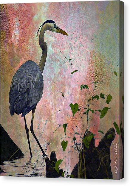 Great Cypress Canvas Print - Great Blue Heron Among Cypress Knees by J Larry Walker