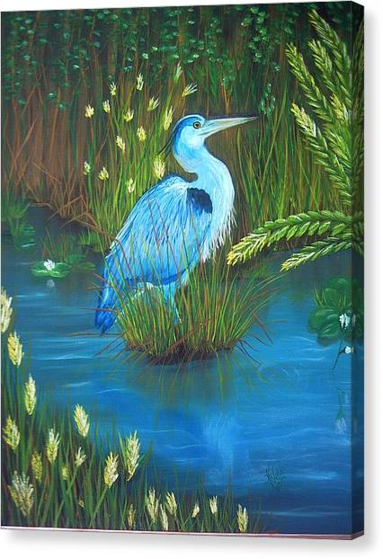 Great Blue Heron Canvas Print by Kathern Welsh