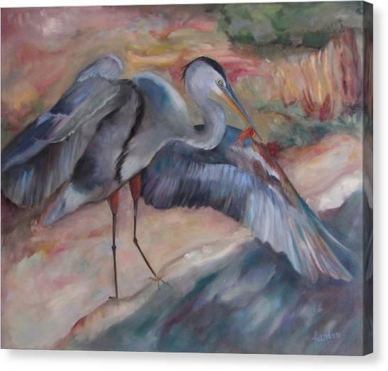 Great Blue Heron Canvas Print by Susan Hanlon