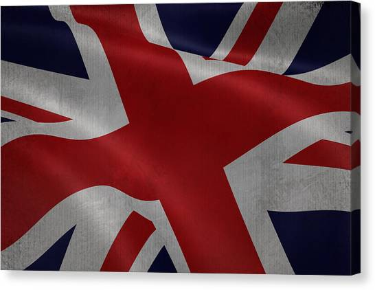 Great Britains Flag Waving On Canvas Canvas Print
