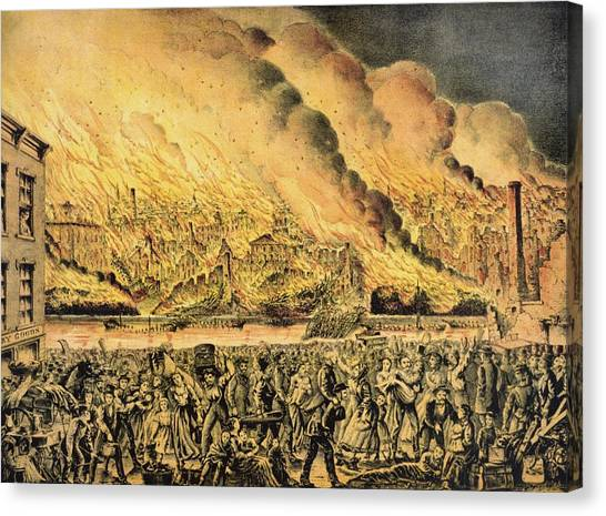 Chicago Fire Canvas Print - Great Chicago Fire, 1871 by Science Photo Library