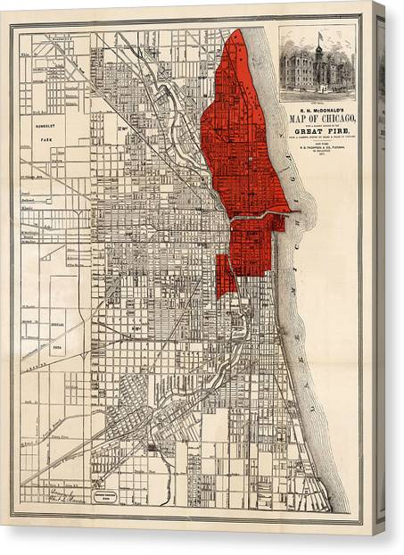 Chicago Fire Canvas Print - Great Chicago Fire by Andrew Fare
