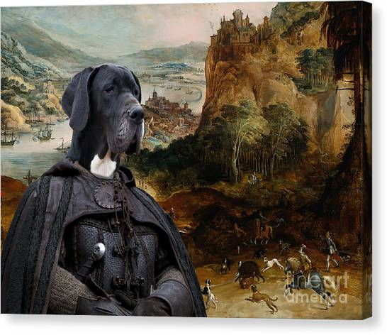 Great Dane Art - The Boar Hunt Canvas Print